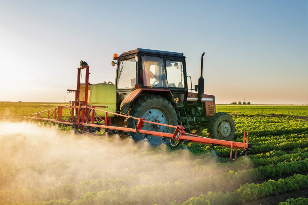 Pesticide application in field